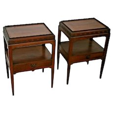 Vintage Nightstands Side Tables Matching two tiers with pull through drawers