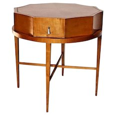 Vintage Baker furniture Table Decagon Scalloped Round design satin wood drawer