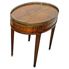 Vintage Baker furniture Oval Table Bouillotte Directoire Regency Style 1 drawer