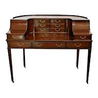 Carlton Desk English Mahogany eleven drawer 2 cabinet solid construction Vintage