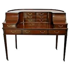 Carlton Desk English Mahogany eleven drawer 2 cabinet solid construction Vintage