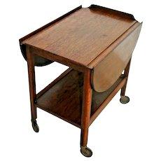 Antique Serving table buffet, tiger Oak, drop side leafs, rolling,shelf Rare