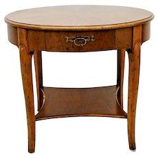 Vintage Milling Road furniture Round Table bottom shelf solid walnut one drawer
