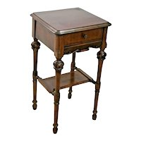 Vintage tall Table with drawer and bottom shelf carved french country walnut