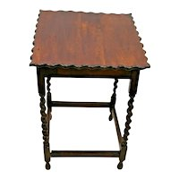 Antique Table Red Oak Barley Twist Legs Pub style carved scalloped Top