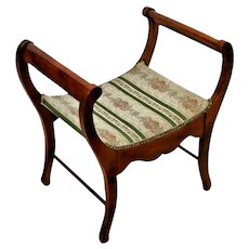 Vanity chair cushion top Roman Style Curule Wood frame brass tack damask fabric
