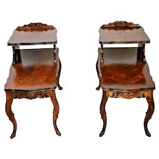 Antique French Nightstands Pair hand carved solid Dark oak step tables Inlays