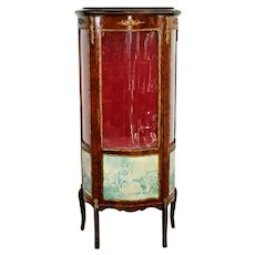 Italian China Cabinet Bronze Ormolu Mounted Vitrine curved Curio Display 2 shelf