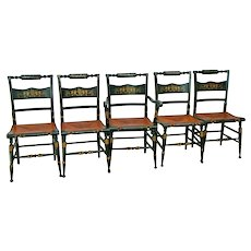 Vintage Tell City Chairs Set of Five Black Gold Stenciled wood Rush Seat