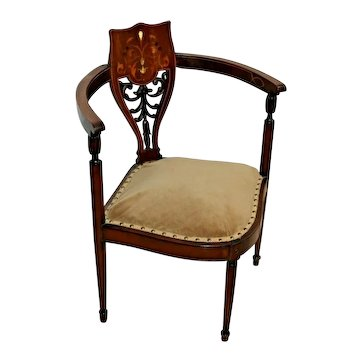 Gorgeous Antique French corner chair Hand Carved back with inlays