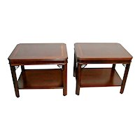 Vintage Pair of Lane Alta Vista Nightstands End Tables Two Tier Geometric inlays