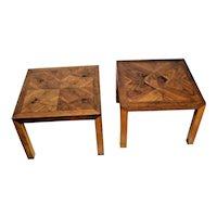 Vintage Pair of Lane Alta Vista Nightstands Lamp Tables Geometric Solid Walnut