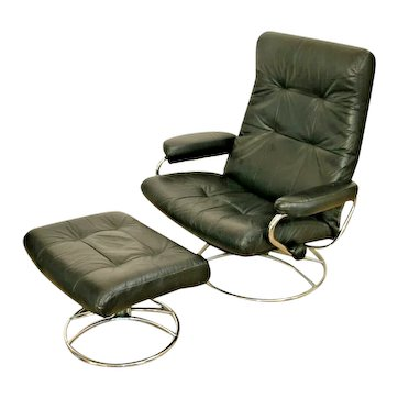 Vintage Black Leather Mid-Century Style Swivel Reclining Lounge Chair & Stool