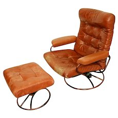 Vintage Brown Leather Mid-Century Style Swivel Reclining Lounge Chair & Stool