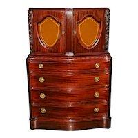Vintage Dresser Chest Mahogany Gentlemen Tall boy Watch drawers glass display