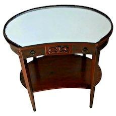 Rare Mersman small Vanity Kidney Table with drawer bottom shelf Mahogany Mirror