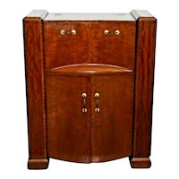 Art Deco Bar Cabinet with bottle storage Flip open top and locking bottom doors