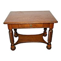 Antique Library Table Tiger Oak Carved writing desk bookshelf dove tail drawer