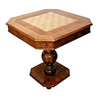Vintage Chess checkers Game Table leather top four drawers Pedestal