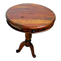 Antique Round Mahogany Pedestal Table with drawer Colonial style