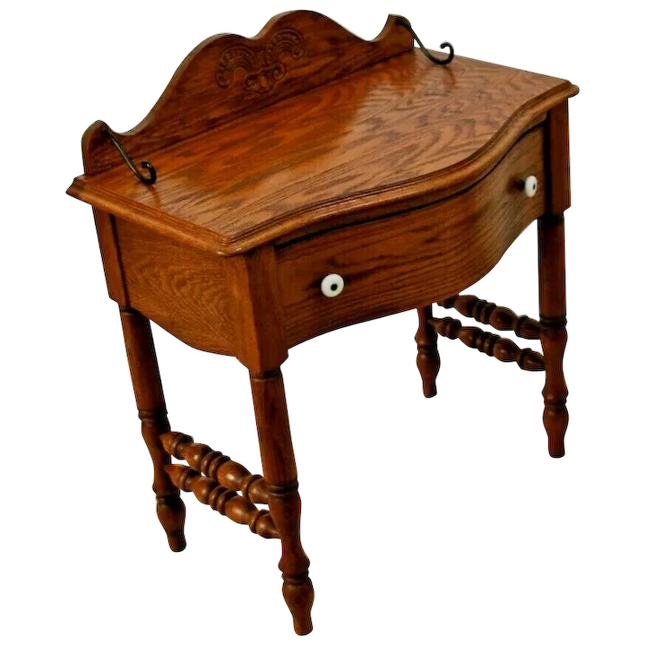 Vintage Side Table With Drawer Small Vanity Pulaski Furniture Usa At Melrose And Antique Ruby Lane - Antique Small Oak Side Table With Drawer