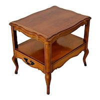 Hammary Table bottom shelf Drawer French country two tier walnut high quality