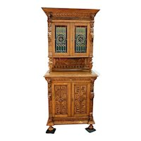 French Victorian Cabinet Tall Sideboard Cabinet Gothic carved wood stained glass