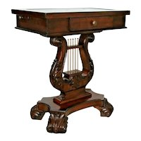 Vintage Lyre Harp Table Console Leather embossed top Drawer and side pulls