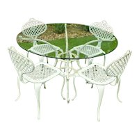 Thinline Furniture Patio set four chairs and glass top table Mid century French