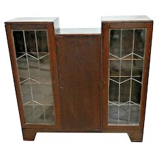 Art Deco Side By Side Bookcase Leaded Glass Tall center cabinet English Oak