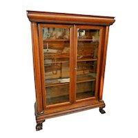 Antique Double Door Bookcase Oak claw feet Side Columns Locking Three shelves