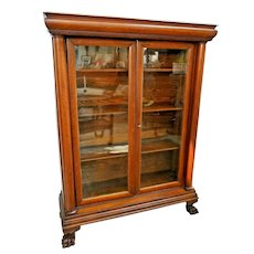 Antique Double Door Bookcase Oak claw feet Side Columns Locking Three shelves