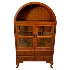 Arched Double Glass Door Bookcase Three shelves four drawers Vintage mission