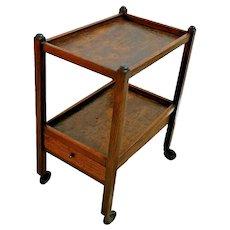 Antique Serving table buffet cart, rolling, bottom shelf, silverware drawer