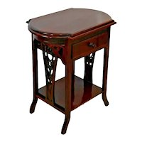 Victorian Library Table hand carved Side aprons Drawer, bookshelf Solid Mahogany