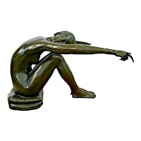 Vintage Figurative Female Nude Sculpture Coffee Table Oval Glass filled Bronze