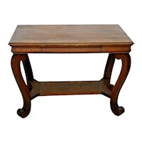 Antique Library Table Tiger Oak writing desk bookshelf dove tail drawer