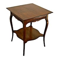 Antique Table with bottom shelf French country two tier Oak high quality