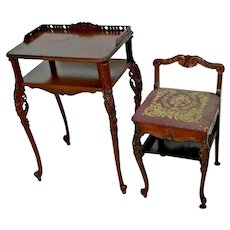 Antique French Phone Table and matching chair Ornate carvings Mahogany
