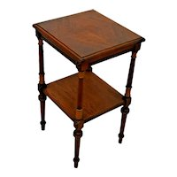 Antique Lamp Table with bottom shelf Italian carved two tier Small Console