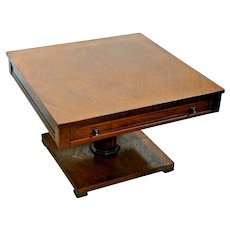 Mid Century Game Table large top drawer Pedestal Square top Oak Geometric inlay
