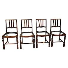 Antique Dutch Pub Chairs Solid Oak Wood set of four original finish