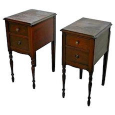 Antique Night Stands Matching two Deep drawers Accent End Vanity Side Tables