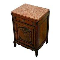 Vintage French Oak Vanity Cabinet Pink Rose Granite top carved door One Drawer