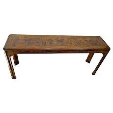 1411Drexel Console Sofa Table Burl Parquet Hardwood top Mid century Asian style