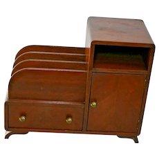 Vintage Art Deco Mahogany Single Door Storage Cabinet with Drawer record storage