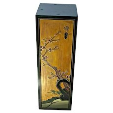Mid Century Tall Plant Stand Carved relief hand painted Square top Japanese style