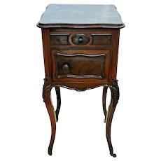Antique French Table  Marble Top and Interior Humidor Cabinet On Casters Drawer
