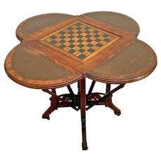 Antique Game Card Table East Lake Victorian George Hess 1876 Drop Sides Mahogany