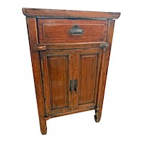 Antique Cabinet Commode hand crafted carved door hinges One Drawer tenon joints